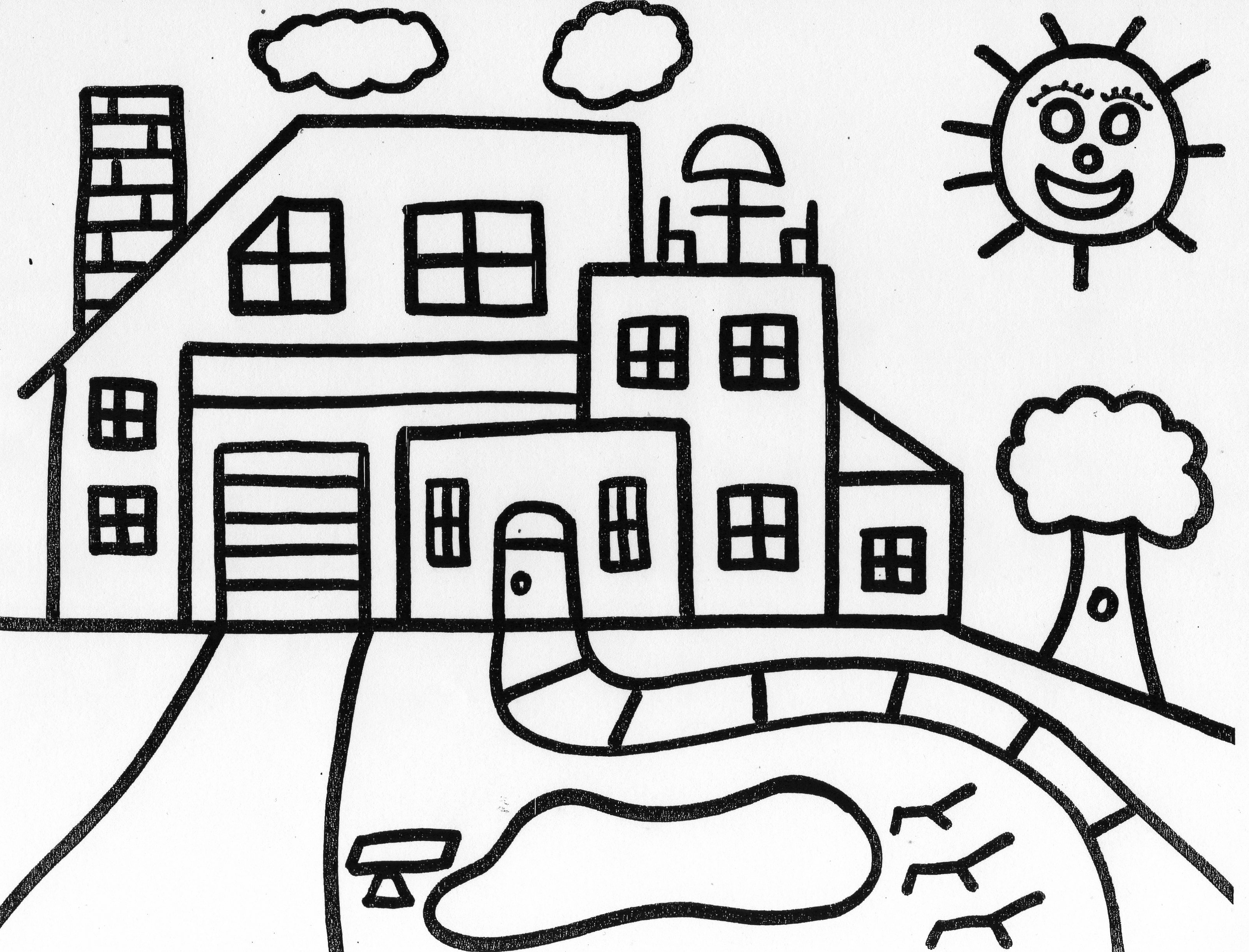 Free Coloring Pages Of House Drawing