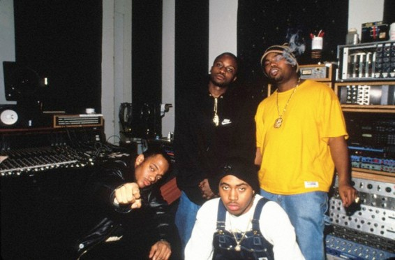 01 Feb 1995, New York State, USA --- Prodigy and Havoc (Mobb Deep) with NAS and Wu-Tang clan member, Raekwon. They were in the studio recording, 'Eye for an Eye (Your Beef is Mines)'. (Prodigy, front left, Nas , front right, Havoc, standing, left, and Raekwon, form Wu-Tang Clan, standing, right) --- Image by © Chi Modu/Diverse Images/Corbis